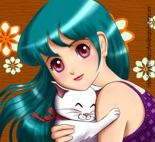Young girl hugging her white kitten by JellyRollDesigns