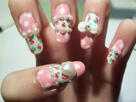 Rose and Pearl Nail Art by MimiMemeko