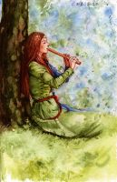 Flute in the forest by Vesea