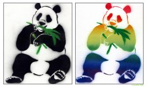 2-Layer Panda Stencil by ItCameTomorrow