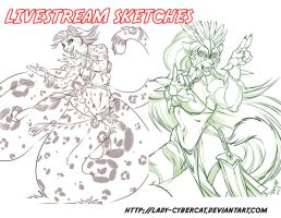 2 November Livestream Sketch Commissions 4 by lady-cybercat