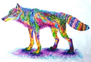 Rainbow Wolfy by NamelessOkami