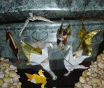 Seven Origami Swans a Swimming by pandaraoke