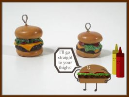 Cheese Burger Charms by chat-noir