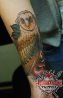 Alex Neo Traditional Owl Coverup by HammersmithTattoo