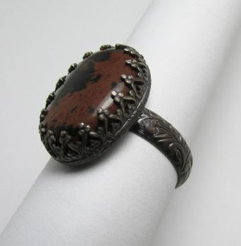 Mahogany Obidian Floral ring by Utinni