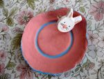 Coral Pink and Blue Clay Bowl by ange-etrange