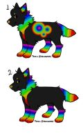 Rainbow Wolves adoptables!!!![CLOSED] by Wyeth-Kitty