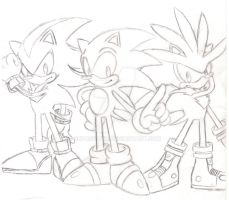 Old School Sonic,Shadow,Silver by SupaSilver