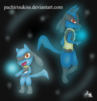 Riolu and lucario by Kalinel