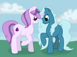 Amethya and AuqaStone by LittleLace