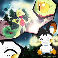 Pokemon Fan Art Treecko-Emolga by Goldenbull