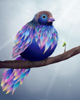 Blue vector bird by InnaAdamenya