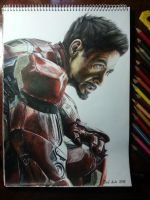 Tony Stark colored pencil by DeadArt1