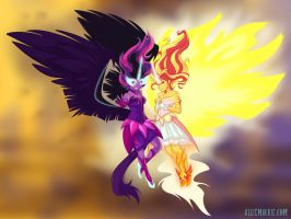 Midnight Sparkle and Daydream Shimmer by alliemackie