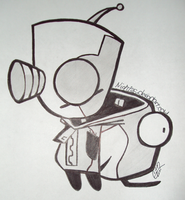Invader Zim Hand Drawn And Shaded Gir by Crimzination