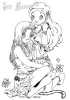 Marron and Zaria - outlines by SonMarron