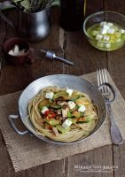Pasta with vegetables and feta cheese by MirageGourmand