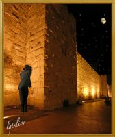 City Wall Of Jerusalem-Praying By Night by Lior-Art