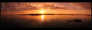 Helsinki sunset panorama by Behindmyblueeyes
