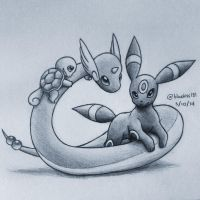 Dragonair, Squirtle and Umbreon by BluuKiss