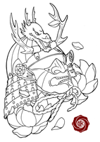 Samurai sketch tattoo with dragon by Punk01