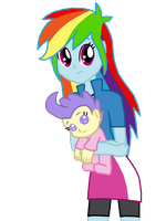 Rainbow Dash and Cream Puff by FerroKiva