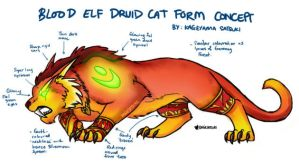 WoW Blood Elf Druid Cat Form Concept by kagesatsuki