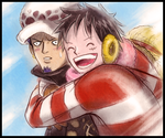 You're my Nakama! (Luffy and Law from One Piece) by MajorasMasks