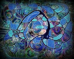 digital blue abstract psyche pollock cosmos by santosam81