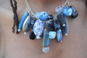 Blue Bits and Bobble Necklace by TheFuzzyPineapple