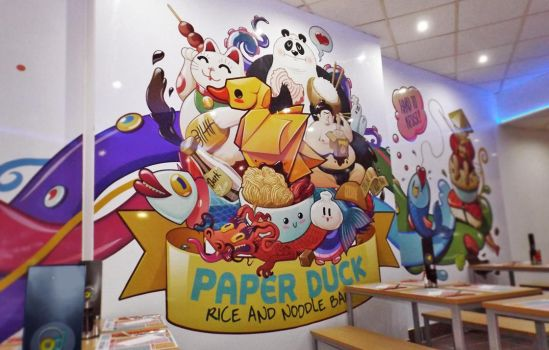 Paperduck noodle bar mural design by room4shoes