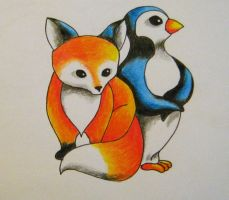 Fox and Penguin Tattoo Design by vermilionbird