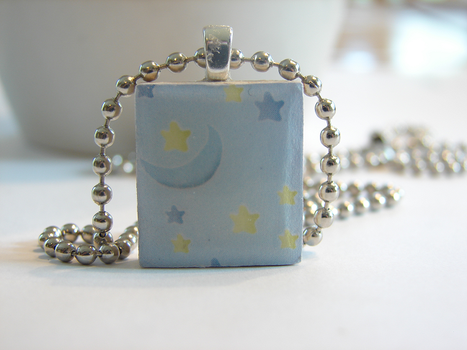 Blue Moon Scrabble Pendant by PastryStitches