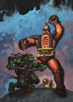 Ninja Turtle Raphael vs Krang by adamgeyer