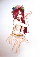 Erza in dress by BarsOrigami