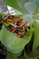 Earthy Glass and Wood Bracelet (expandable) by thumbelyna
