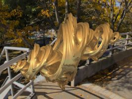 Raytraced gold 4d Julia fractal (environment map) by mcsoftware