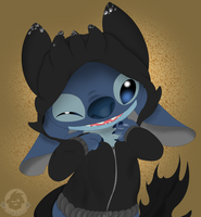 Stitch in a Toothless hoodie. by kumafloof