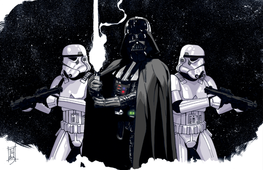 Vader and Troopers by Hodges-Art