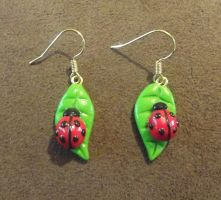 Ladybird on leaf earrings by MeticulousBlue