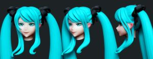 Hatsune Miku: Head Wip1 by HazardousArts