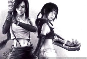 Tifa + Yuffie by guy-who-does-art