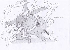 Sasuke Uchiha with Fumashuriken by shierucatheartnet