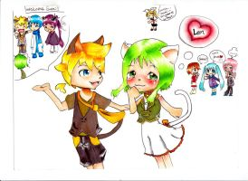 Gumi_ and_Len_as_cats by IDK-kun