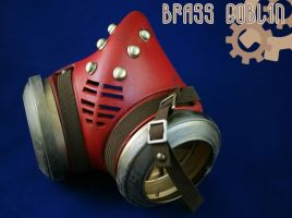 Steampunk Gasmask in Red by brassgoblin