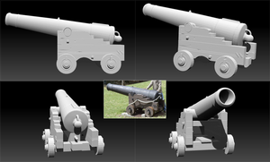 zBrush : Old Wooden Cannon by w0lfix