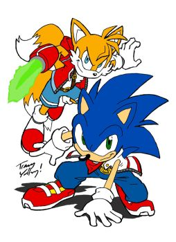 Sonic and Tails -Colored- by TwilightDuelistA5L