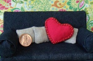 Red Beaded Miniature Heart Pillow by Kyle-Lefort