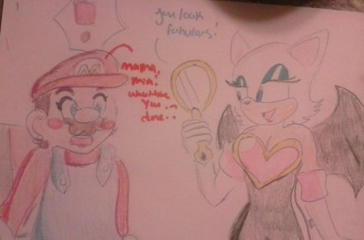 Rouge gives Mario a makeover  by davelovergirlsonic